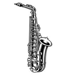 Saxophone black and white vector
