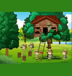 Scouts playing in the treehouse vector