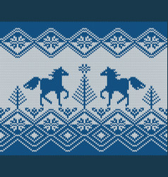 seamless knitted pattern with horses 2 colors vector image