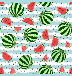seamless pattern whole pieces watermelon vector image