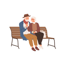 senior love couple two old people sitting vector image