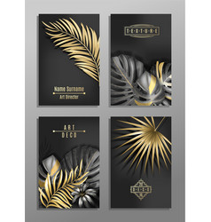 set of 4 elegant brochure card background cover vector image