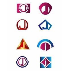 Set of letter J logo Branding Identity Corporate vector image