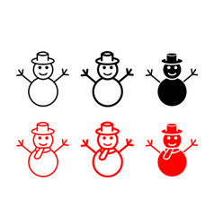 set snowman icons and symbol vector image