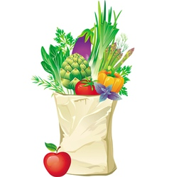 shopping bag full of vegetables vector image