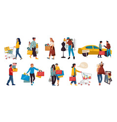 Shopping people trendy family and couples cartoon vector
