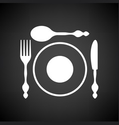 Silverware and plate icon vector