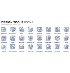 simple set design tools line icons for website vector image