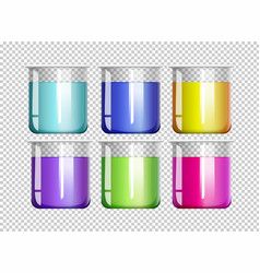 six beakers filled with colorful liquid vector image