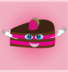 smiling cake on a pink background vector image