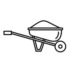 Soil wheelbarrow icon outline style vector