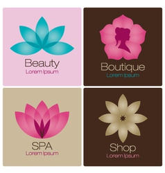 spa flowers logo design elements vector image