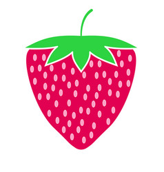 strawberry fruit or strawberries flat color vector image