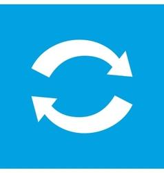 Synchronization white icon vector