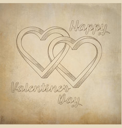 Two hearts intertwined painted on old paper vector