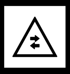 Two-way traffic crosses one-way road sign icon vector