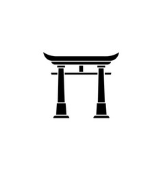 web icon torii japan gate black on white vector image
