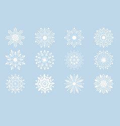 white christmas snowflakes collection eps10 vector image