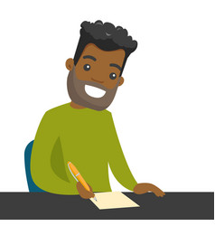 Young african-american journalist writing notes vector