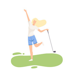 Young happy woman playing golf female golfer vector