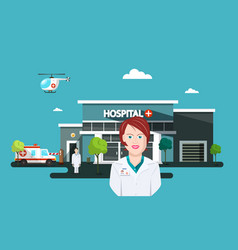 doctor woman with hospital and ambulance car on vector image