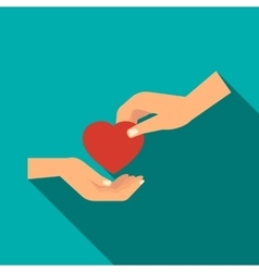 Hand gives heart icon flat style vector image