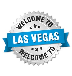 Las Vegas 3d silver badge with blue ribbon vector image vector image