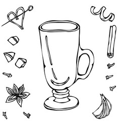 sketch glass with irish coffee hand drawn vector image