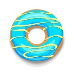 Blue glazed donut icon cartoon style vector image vector image
