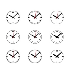 Clock Icon Set - Outline Isolated vector image