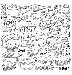 meat elements set vector image