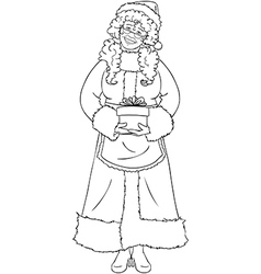 Mrs Santa Claus Holding A Present For Christmas vector image vector image