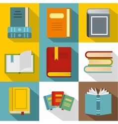 Reading icons set flat style vector