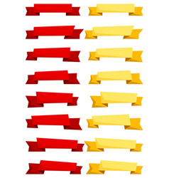 set of red and yellow cartoon ribbons and banners vector image vector image