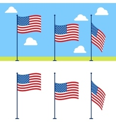 Flat USA flags set vector image