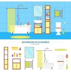 Interior Classic Bathroom and Elements Set vector image vector image