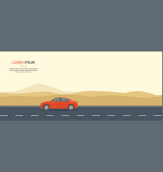 red car driving on a road in the desert rental car vector image