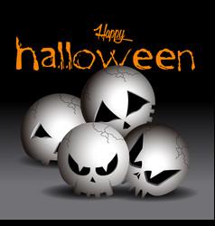 set of halloween skulls vector image