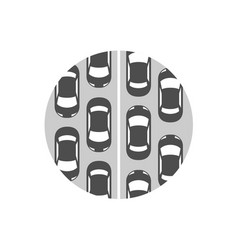 traffic jam icon cars in a rows symbol vector image vector image
