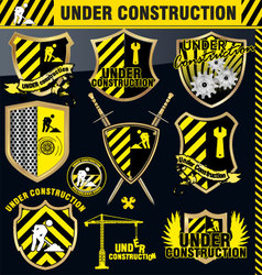 under construction shield - set vector image vector image