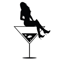 woman on martini in black vector image vector image