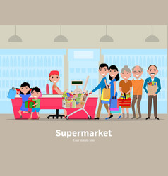 cartoon people doing shopping supermarket vector image
