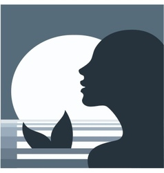 Mermaid in moonlight vector image vector image