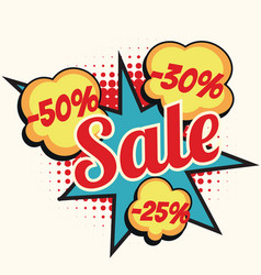 sale 50 30 25 percent discount comic book word vector image vector image
