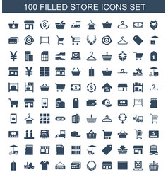 100 store icons vector
