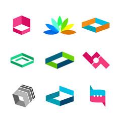 Abstract corporate icon symbol graphic design set vector