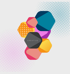 Abstract hexagonal background with halftone vector