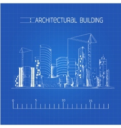 Architectural building blueprint vector image