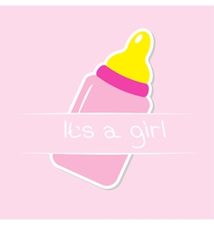 Baby girl pink bottle Shower card vector image