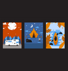 Banners with camping van tent and kayak outdoor vector